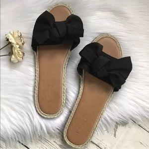 LOFT Outlet Sandals Bows Flats Black Tan New